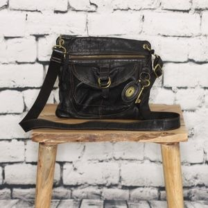 Fossil Bags - Fossil Black Leather Crossbody Satchel